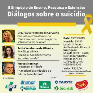 Simpósio na Unimar, no dia 19, vai discutir questões ligadas ao suicídio